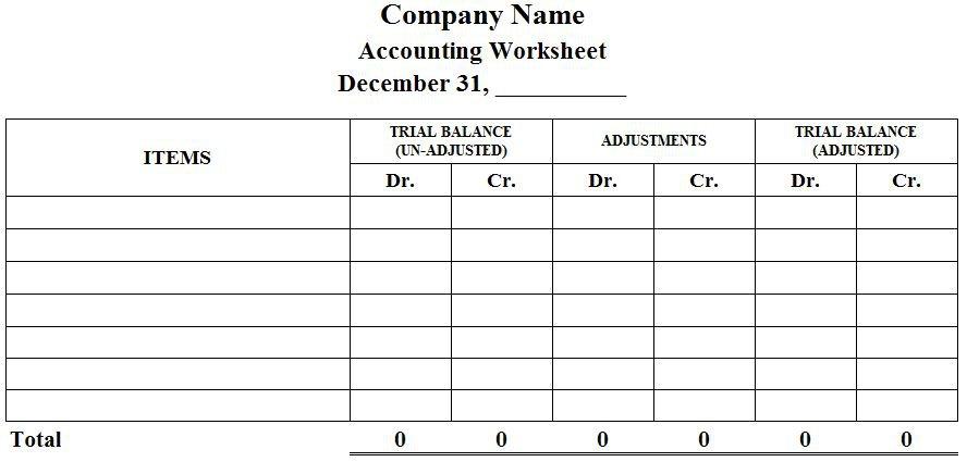 Accounting Worksheet Accounting Worksheet Format Preparation
