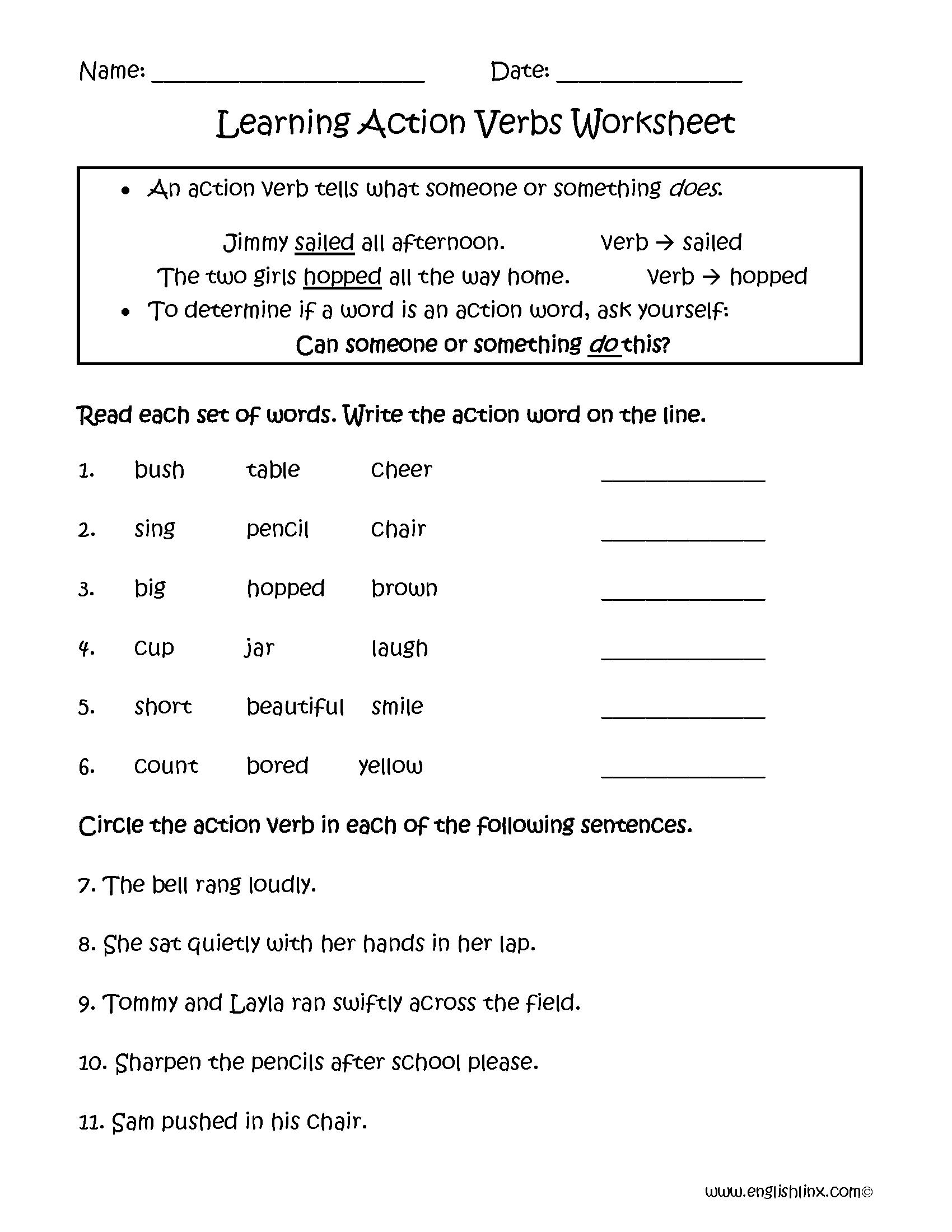 Action Verb Printable Worksheets