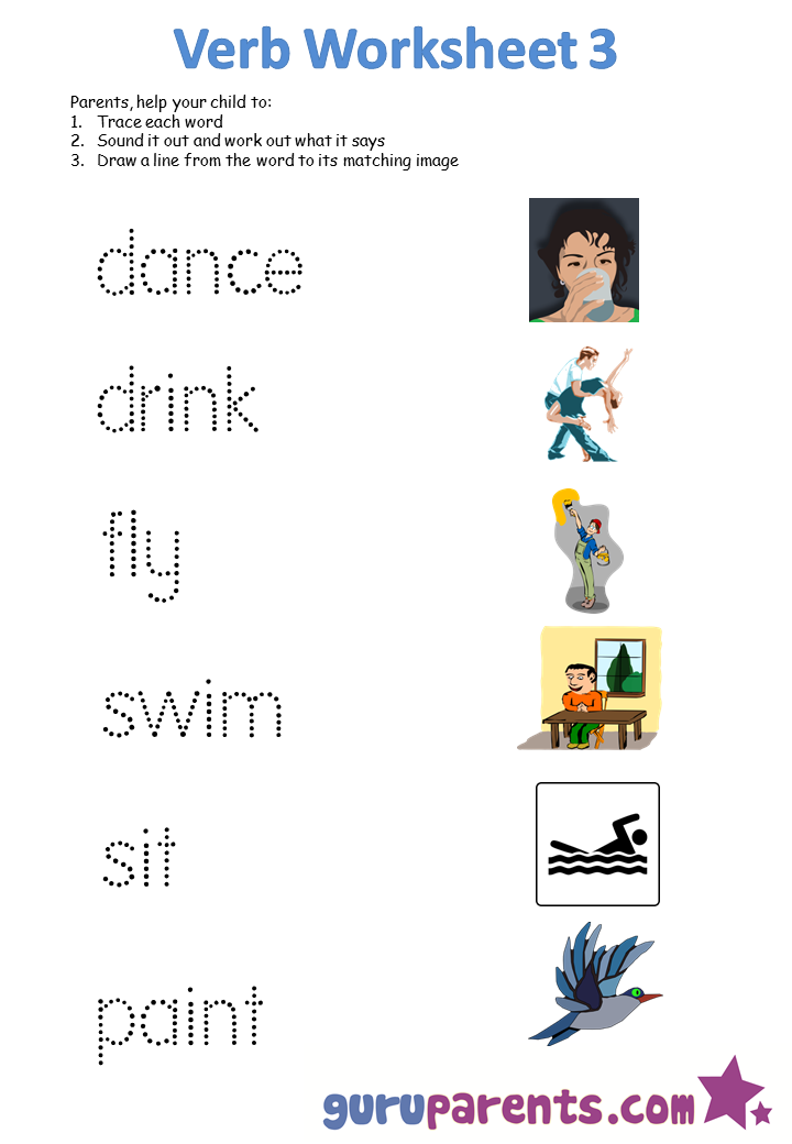 Action Words Worksheets For Kindergarten 443574