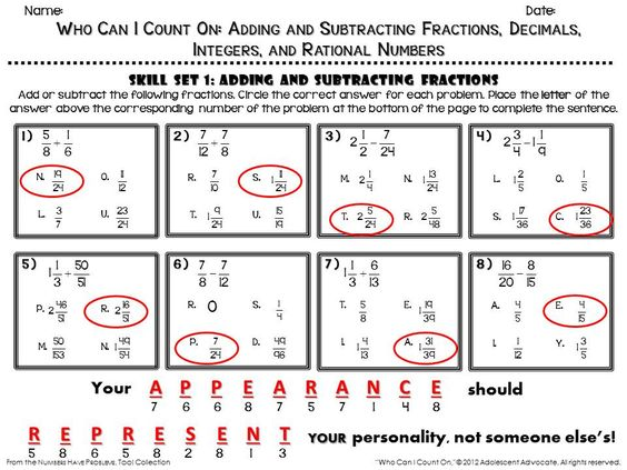 Adding And Subtracting Fraction Integers Worksheet