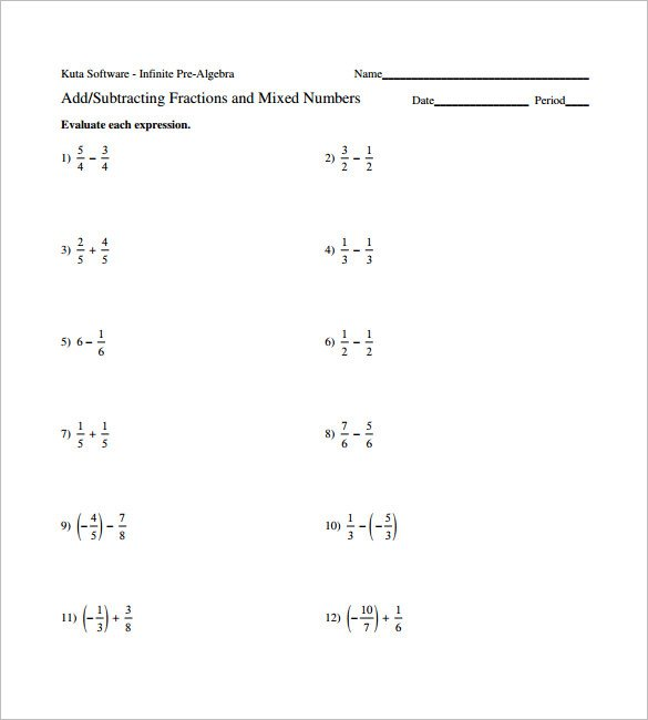 Adding And Subtracting Fractions Worksheets 15 Adding And