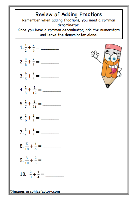 Adding And Subtracting Fractions Worksheets For Sixth Grade