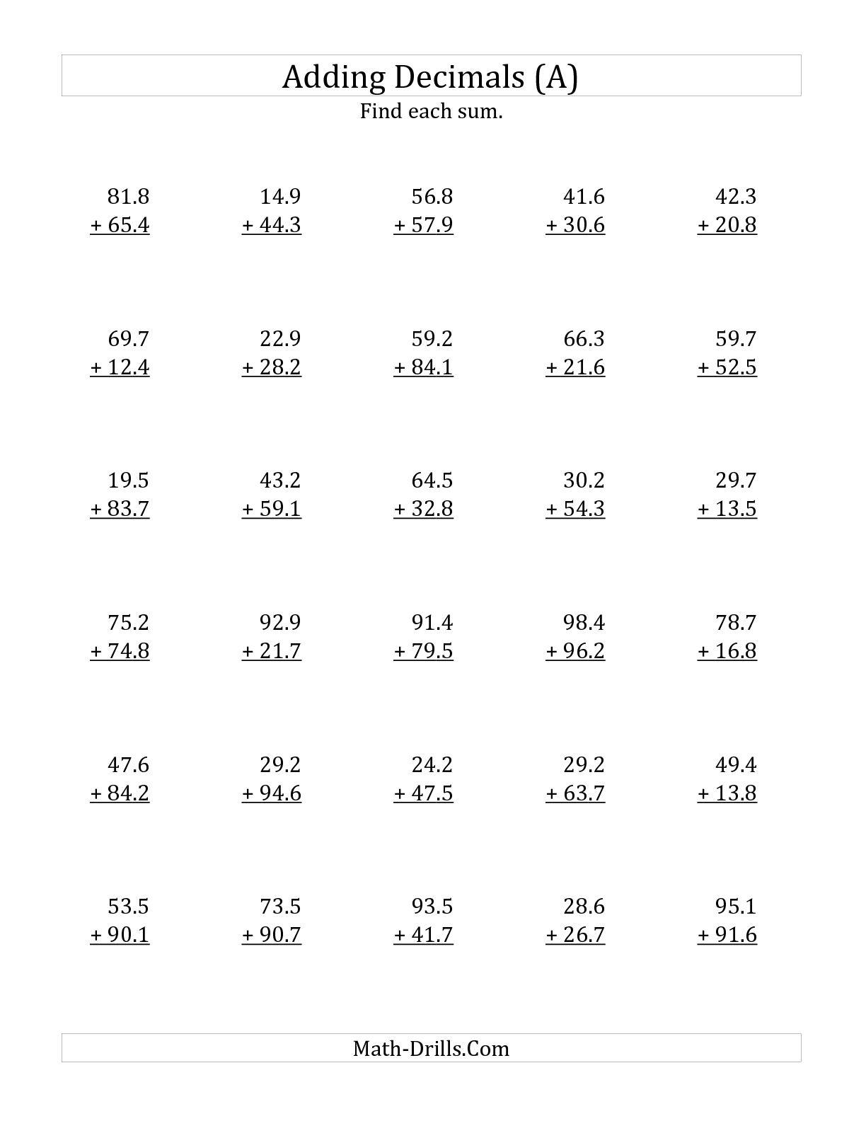 Adding Decimals 4th Grade Worksheets The Best Worksheets Image