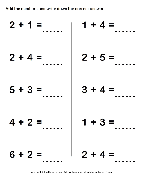 Adding Two Single Digit Numbers Sums To Ten Worksheet