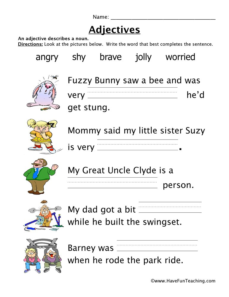Adjectives Worksheets Amazing Adjectives Worksheet Free To Print