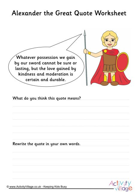 Alexander The Great Quote Worksheet 2