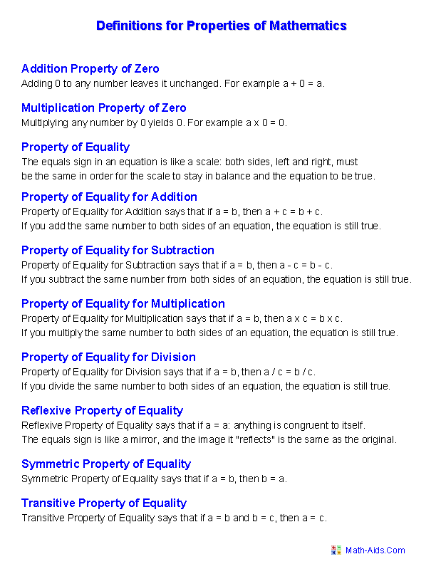 Algebra Property Worksheets The Best Worksheets Image Collection
