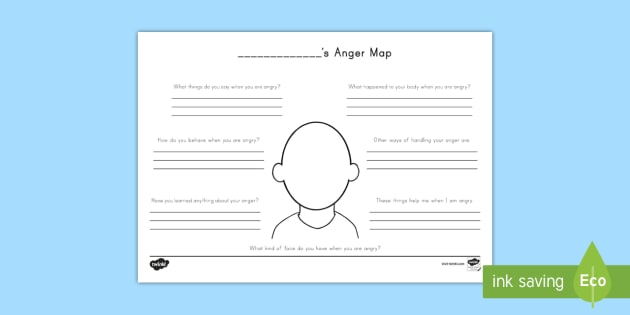 Anger Map Worksheet   Activity Sheet