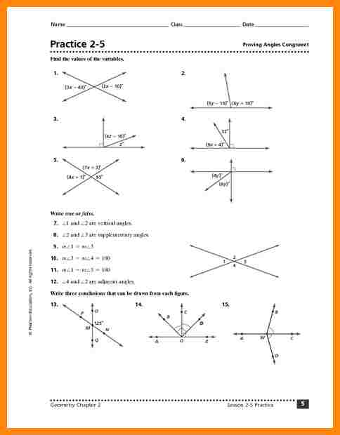 Angle Pair Relationships Practice Worksheet