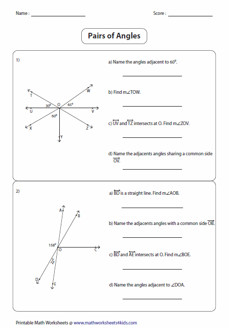 Angle Pairs Worksheet Angle Pair Relationships Worksheet 1 5