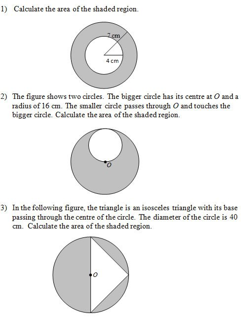 Area Of Shaded Regions That Involve Circles (worksheets And Solutions)