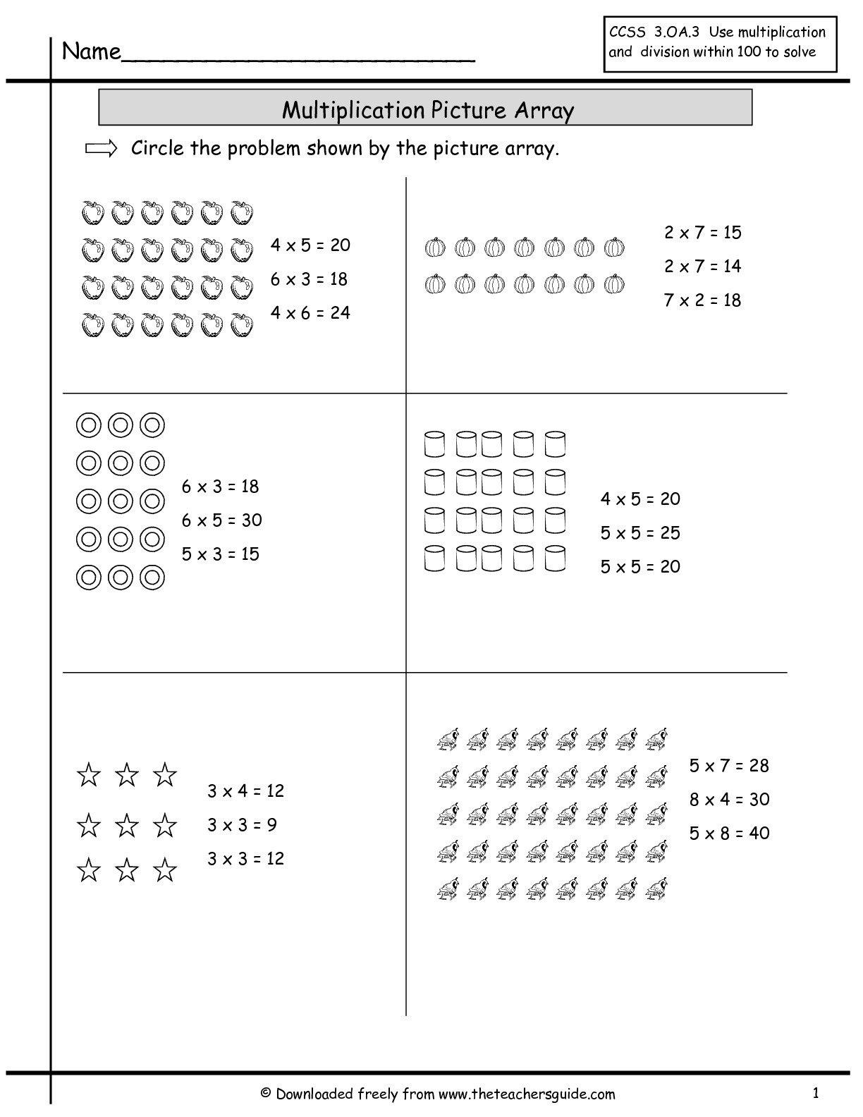 Array Worksheets For Third Grade