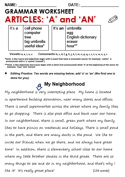 Articles Worksheet Articles All Things Grammar Free