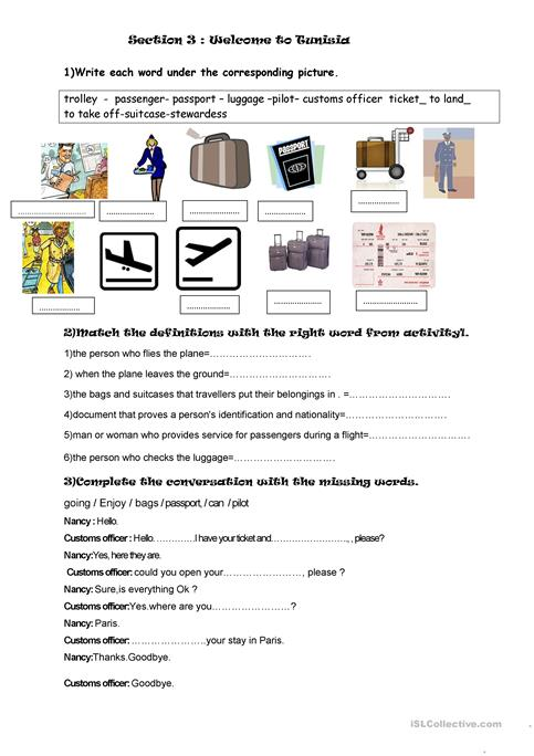At The Airport Worksheet