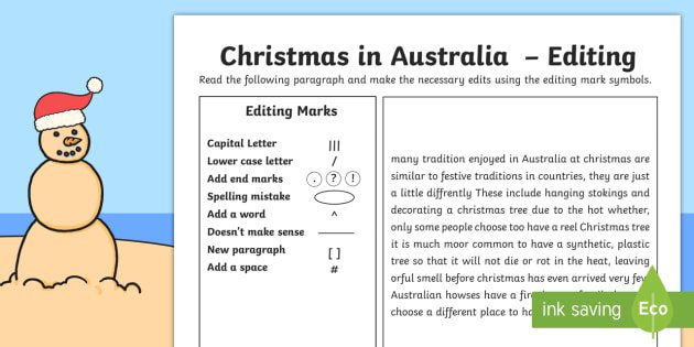 Australian Christmas Editing Worksheet   Activity Sheet