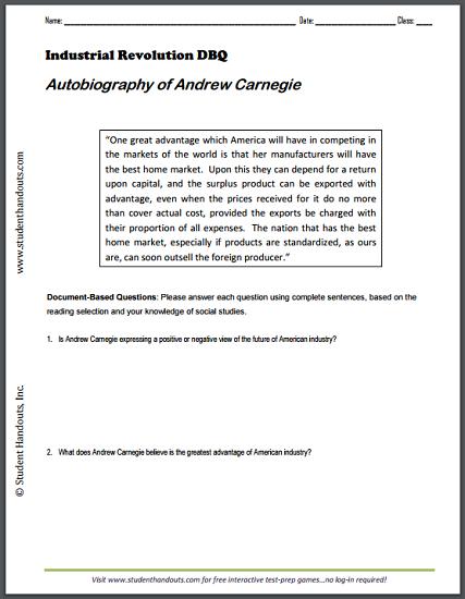 Autobiography Of Andrew Carnegie Dbq Worksheet
