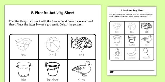 B Phonics Worksheet   Activity Sheet