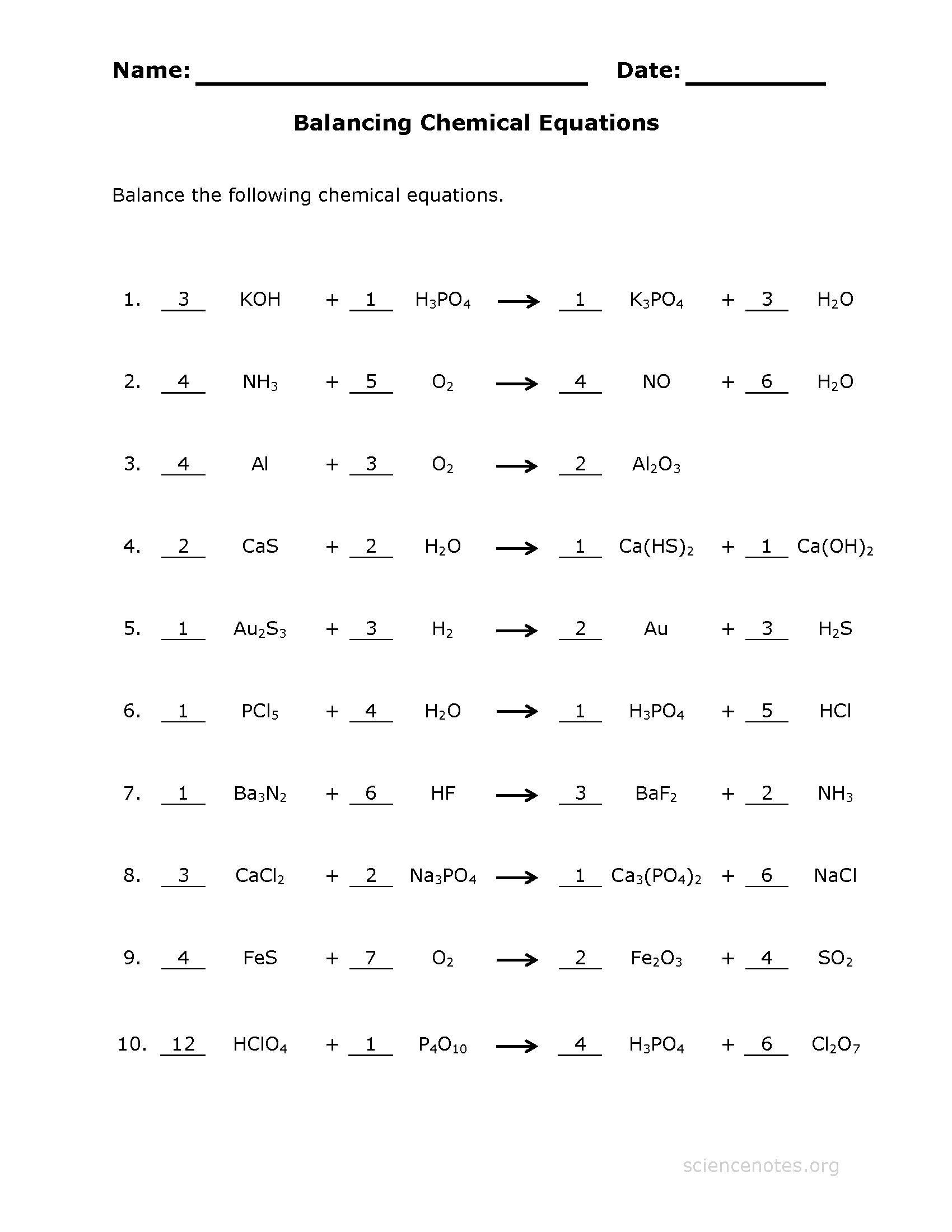 Balancing Chemical Equations Free Worksheet 584599