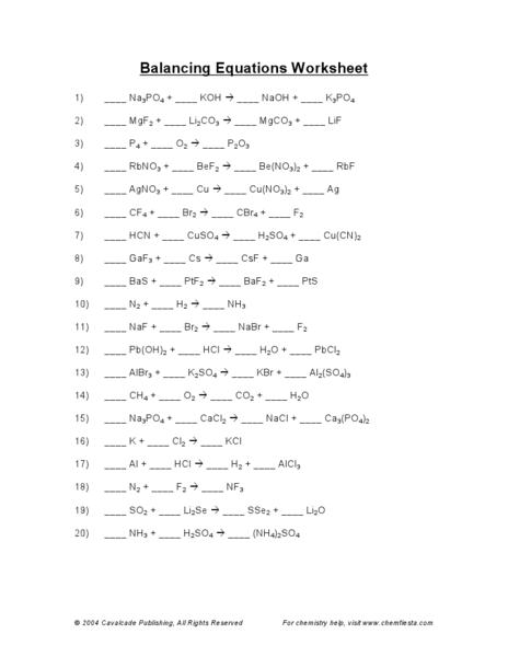 Balancing Chemical Equations Worksheet Answers Printables