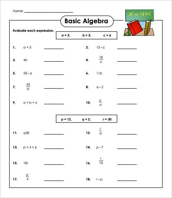 Basic Algebra Worksheets 14 Simple Algebra Worksheet Templates