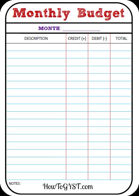 Basic Monthly Budget Spreadsheet