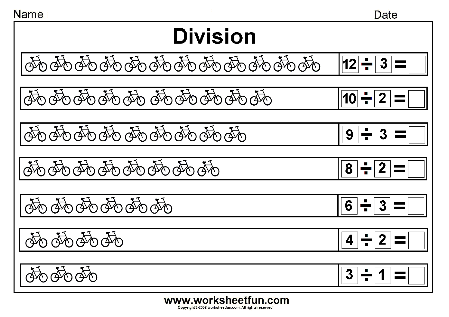 Beginners Division Worksheets