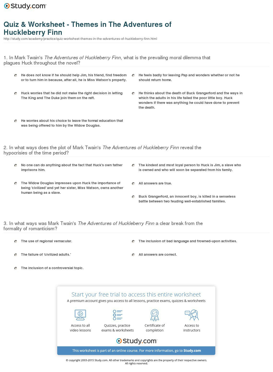 Best Ideas Of The Adventures Of Huckleberry Finn Worksheets In