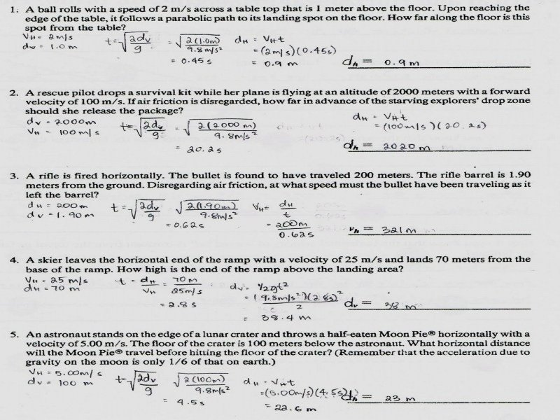 Best Of Projectile Motion Worksheet Inspirational Free Fall