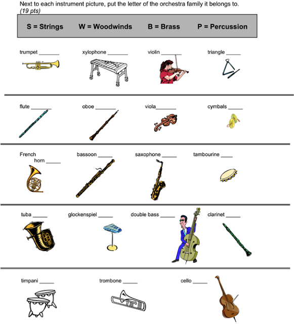 Beth's Music Notes  Orchestra Assessment Worksheet