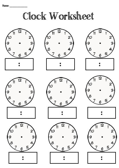 Blank Clocks For Telling Time