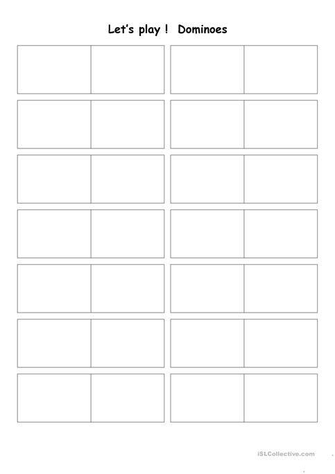 Blank Dominoes Worksheet