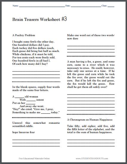 Brain Teasers Worksheet  3