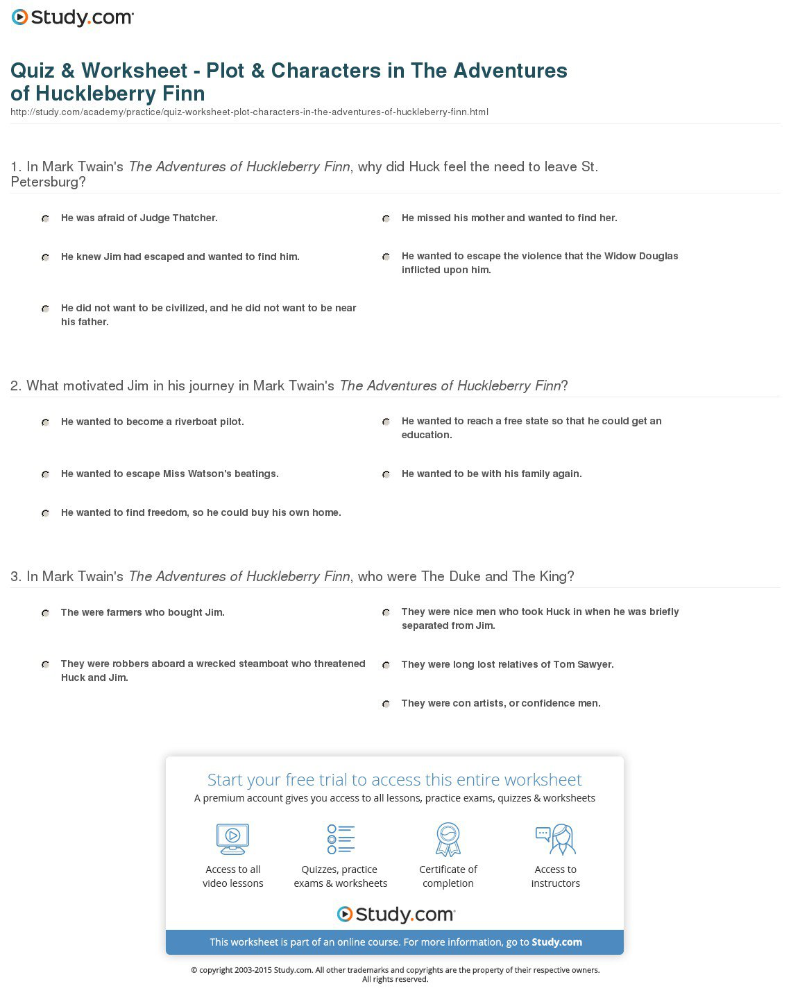 Bunch Ideas Of The Adventures Of Huckleberry Finn Worksheets With