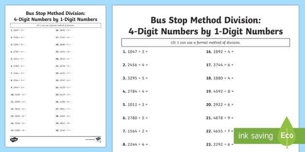 Bus Stop Method Formal Division Of 4 Digit Numbers Worksheet