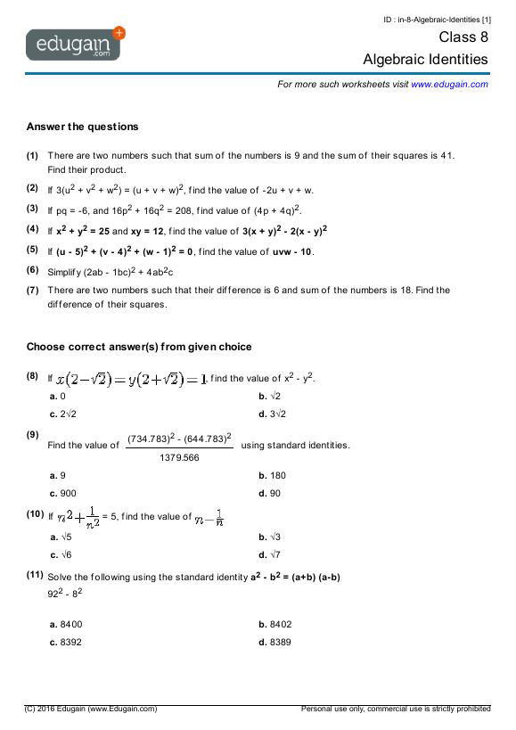 Captivating Algebra Worksheets Year 8 Nz On Year 8 Math Worksheets