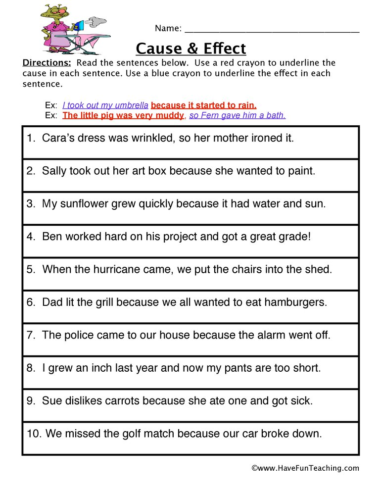Cause And Effect 3rd Grade Worksheets 276593