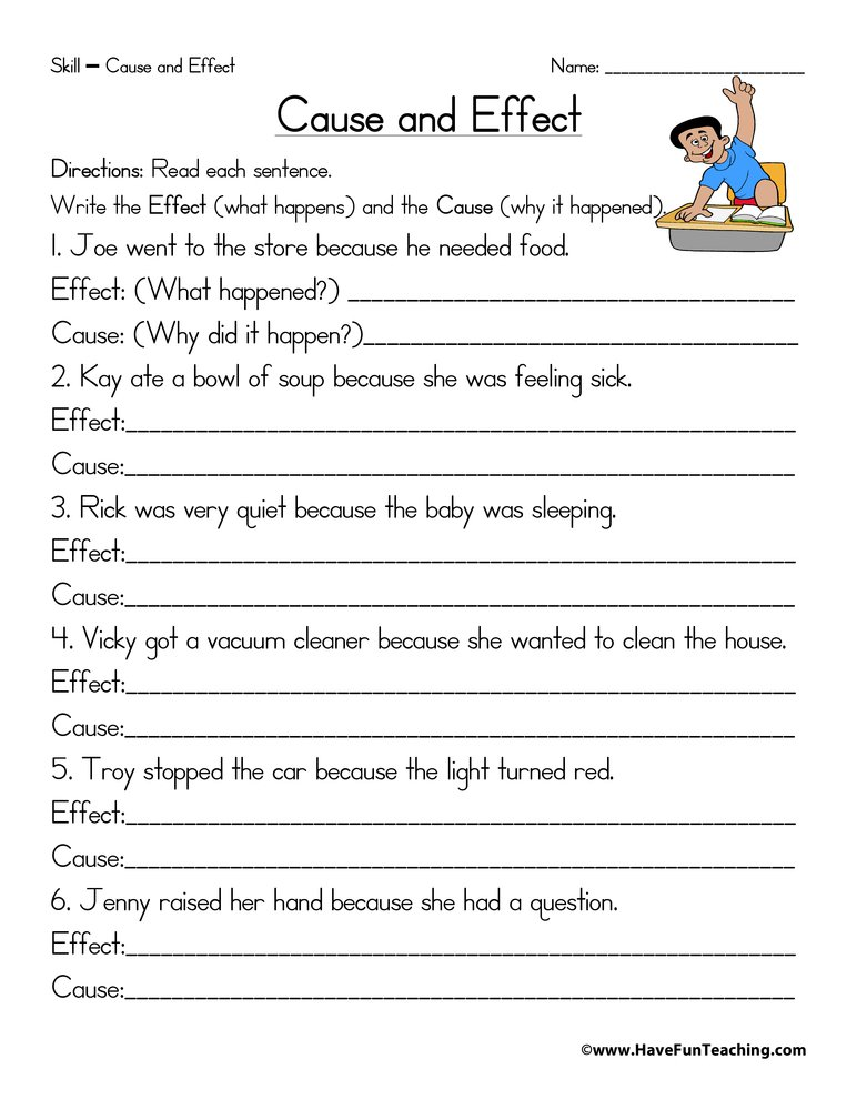 Cause And Effect Worksheets Cause Effect2 Free