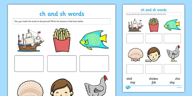 Ch  And  Sh  Sounds Matching Activity Worksheet