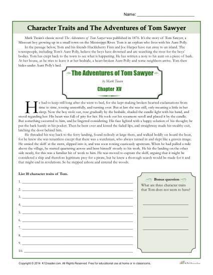 Character Traits Worksheet Character Traits Worksheets The
