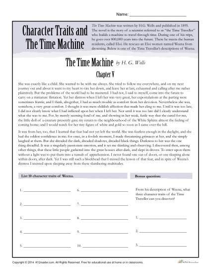 Character Traits Worksheets