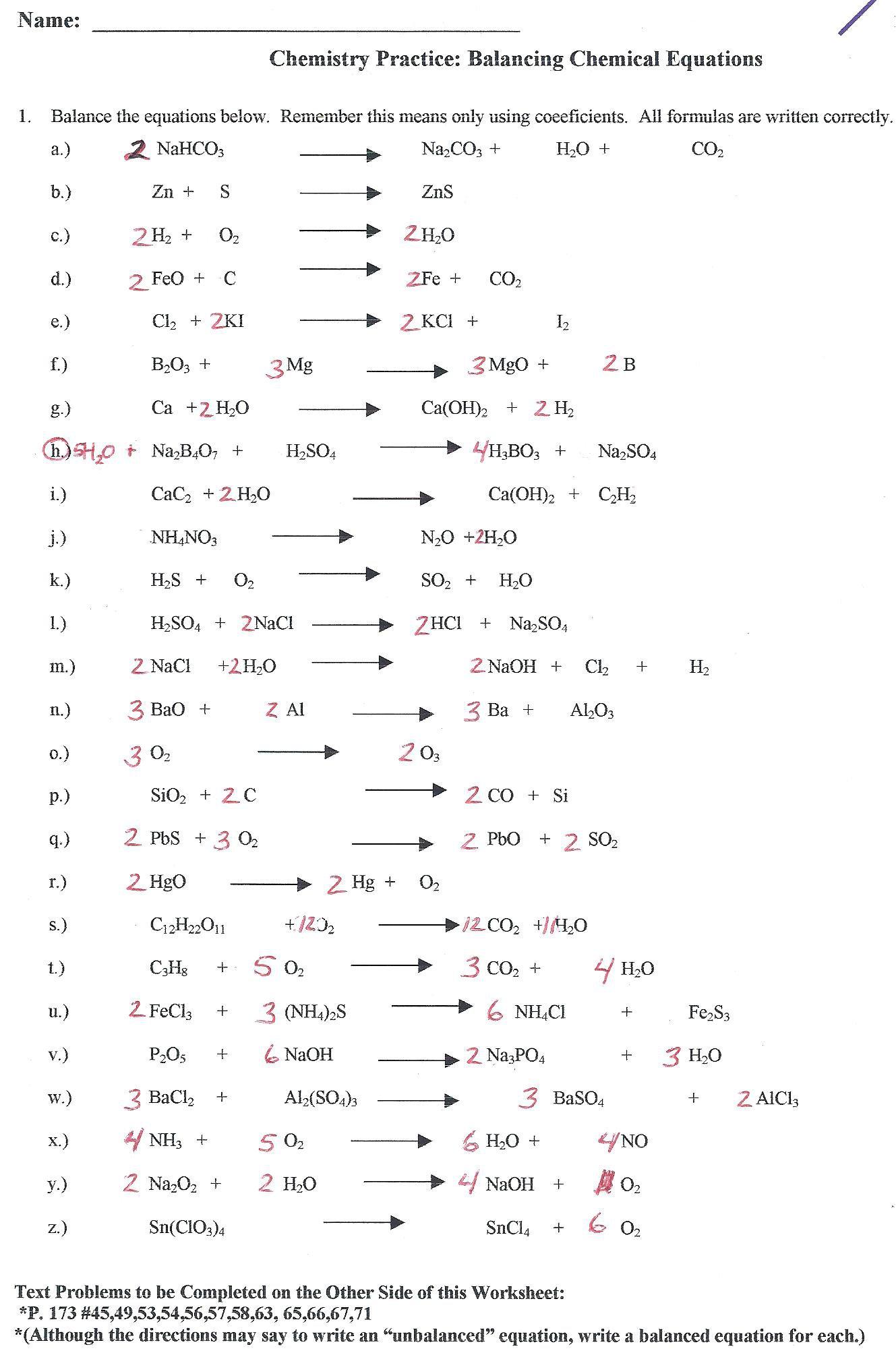 Chemical Equation Worksheet Answer Key The Best Worksheets Image