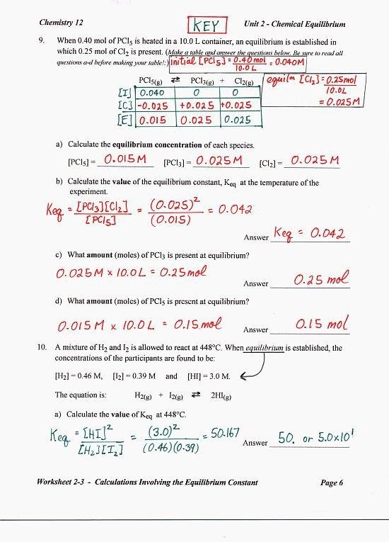 Chemical Equilibrium Worksheet