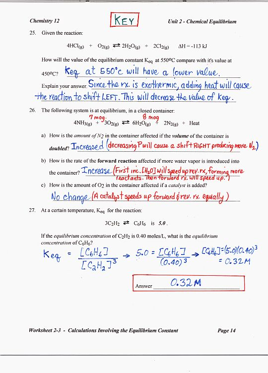 Chemical Equilibrium Worksheet Answers