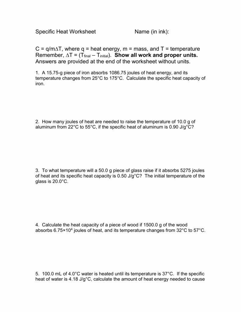 Chemistry Specific Heat Worksheet Images