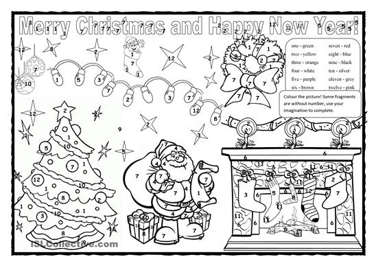 Christmas Coloring Pages And Worksheets Esl Christmas Colouring