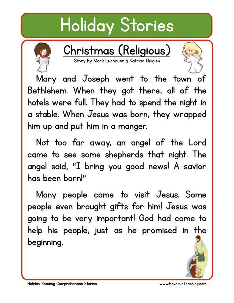 Christmas Worksheet Reading Comprehension Free