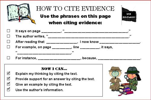 Citing Textual Evidence Worksheet Citing Textual Evidence