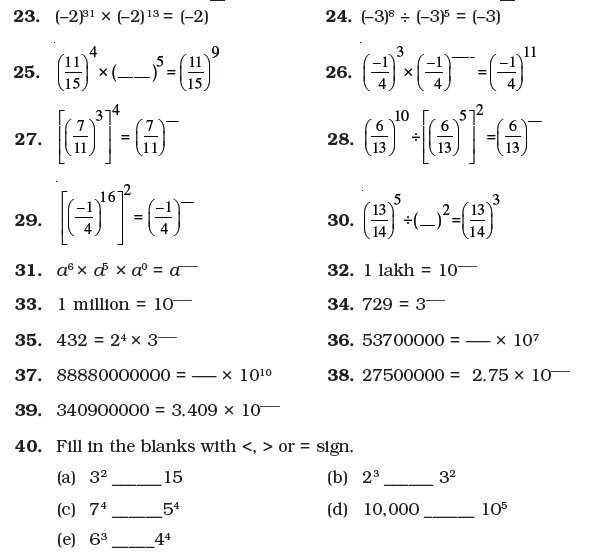 Class 7 Important Questions For Maths – Exponents And Powers