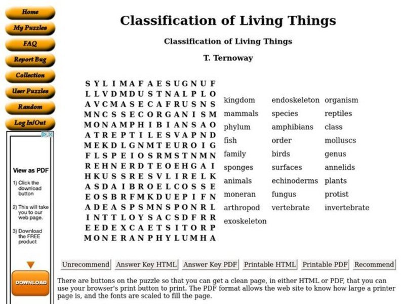 Classification Of Organisms Worksheets The Best Worksheets Image