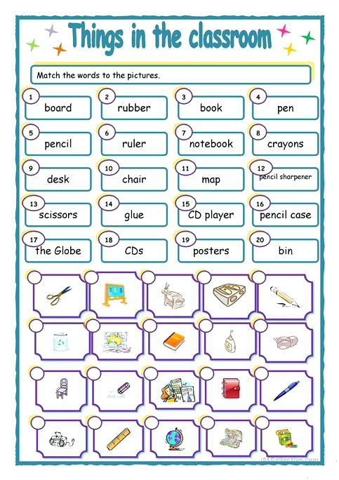 Classroom Worksheets Things In The Classroom My Classroom